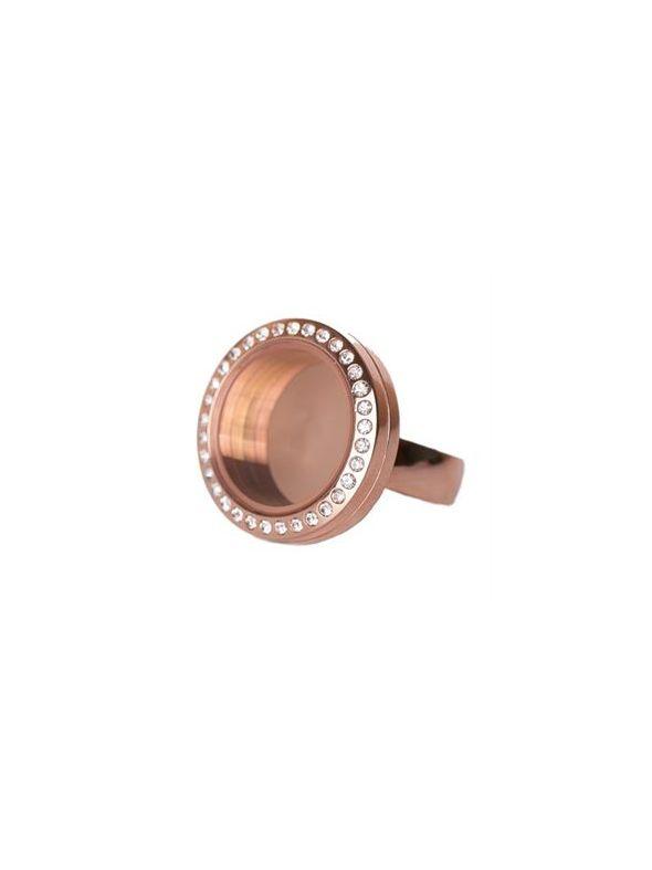 Rose Gold with Crystals Medium Locket Ring - Size 6