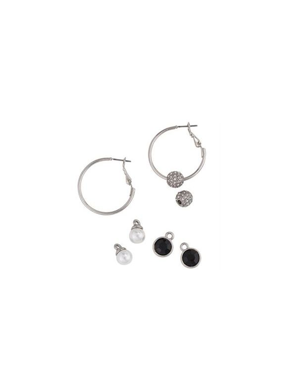 Interchangeable Silver Hoop Set