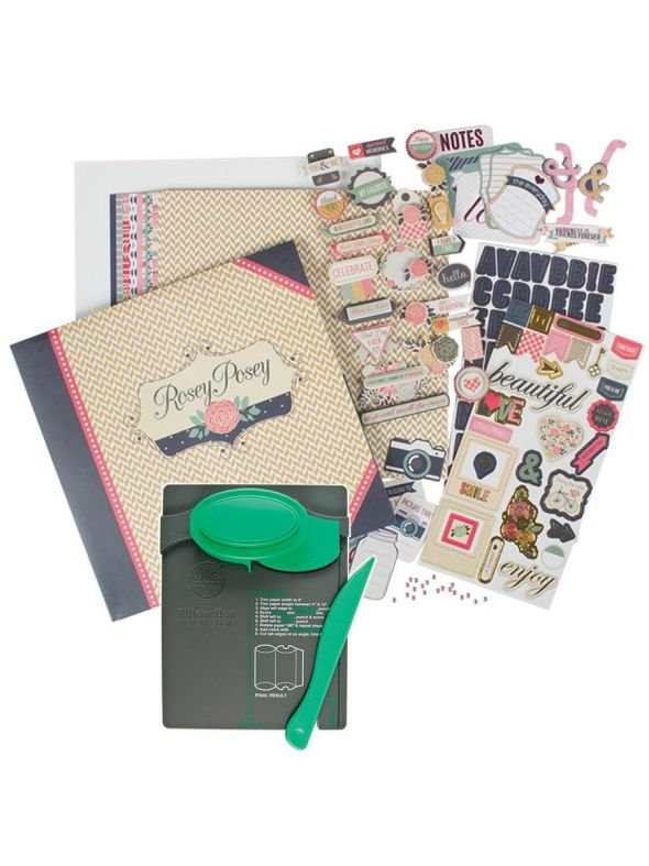 Rosey Posey Collection Pillow Box Punch Board Bundle