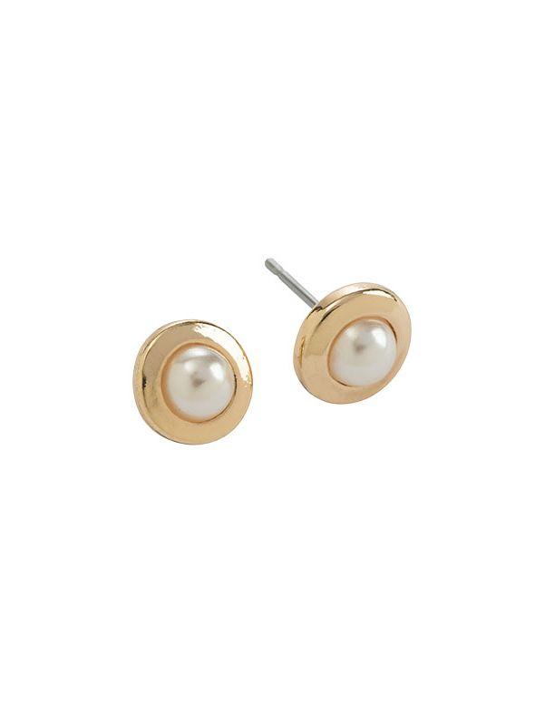 Pearl Stud Gold Earrings